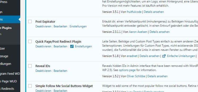 Meine aktiven WordPress Plugins