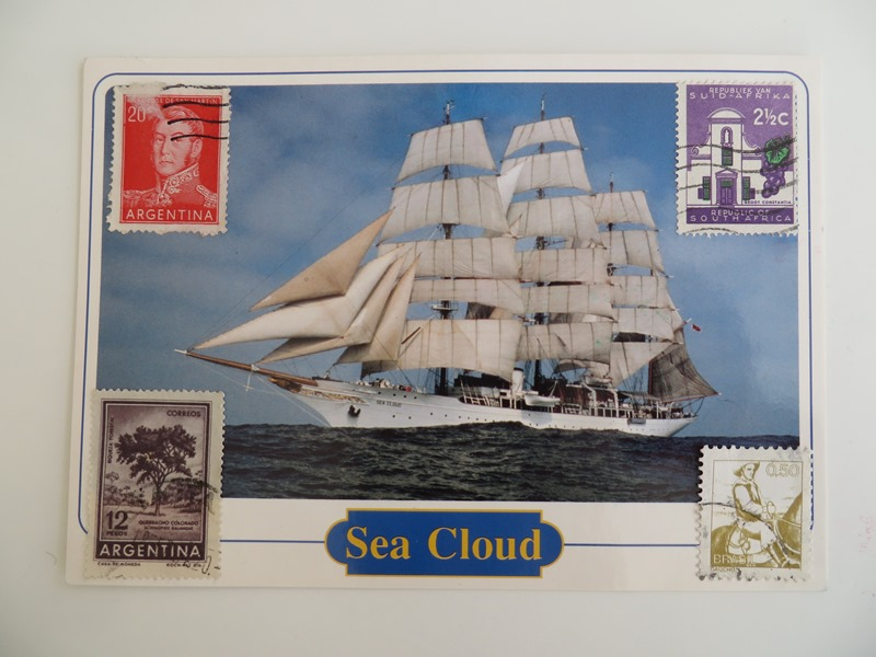 postkarte beklebt
