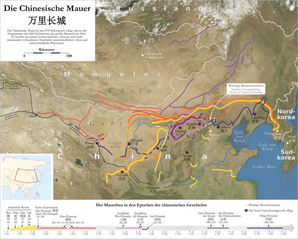 Chinesische Mauer, einzelne Systeme, Abschnitte