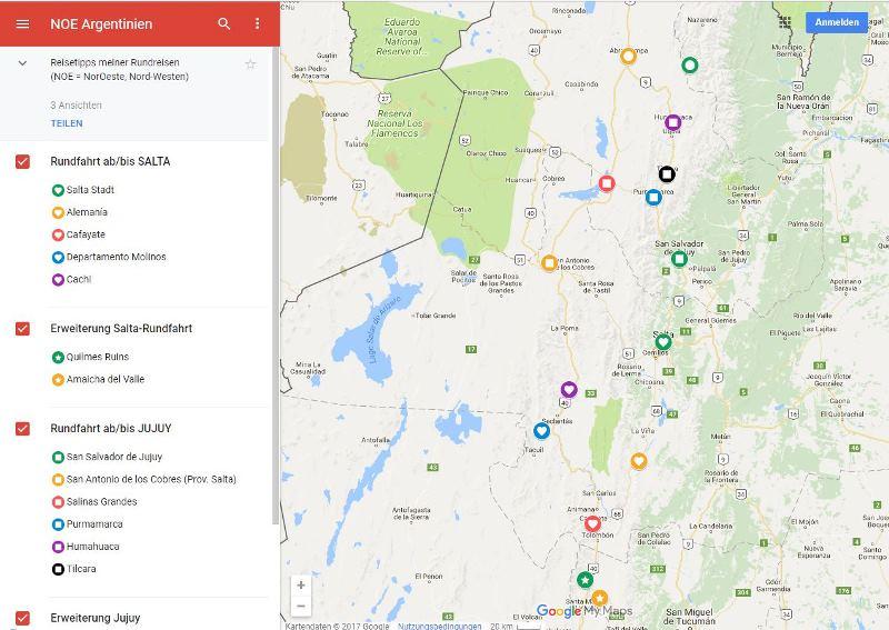 Jessicas Google Map Argentinien Salta Jujuy