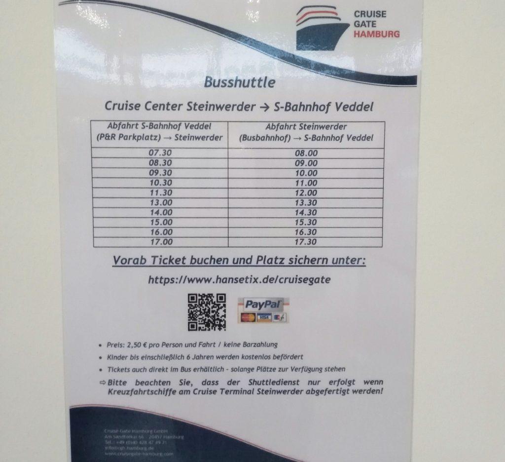 Reisetipps Fahrplan Steinwerder Cruise Gate Shuttle Veddel