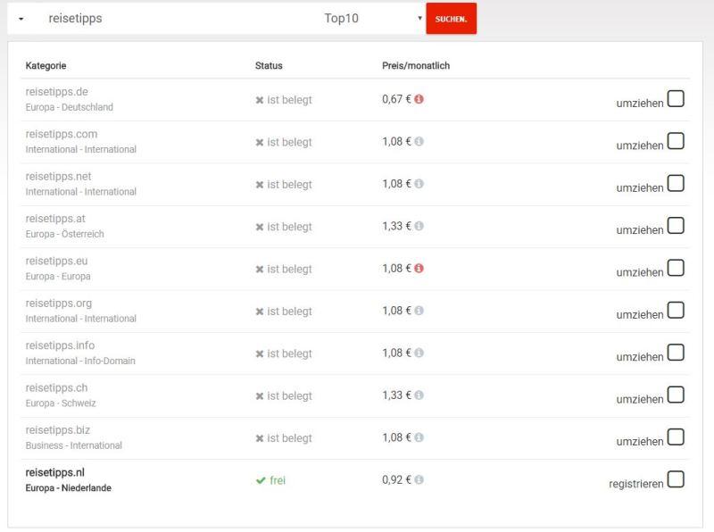 Empfehlung Los Webos Provider Domain Check