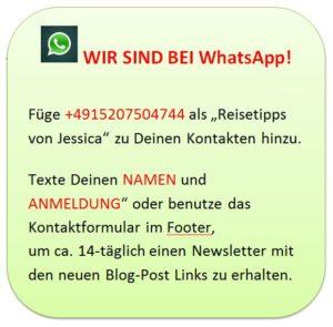 WhatsApp Reisetipps Newsletter Empfehlung