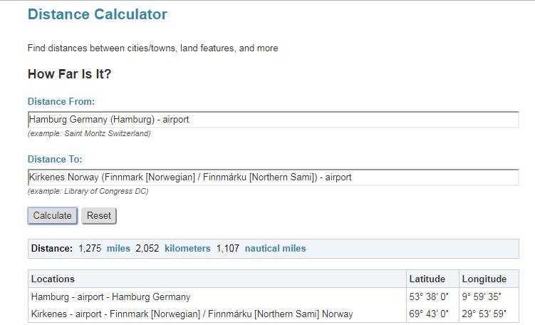 Distanz nach Kirkenes berechnen