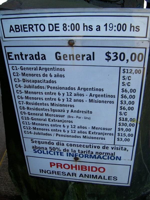 Eintritt Iguazu Argentinien